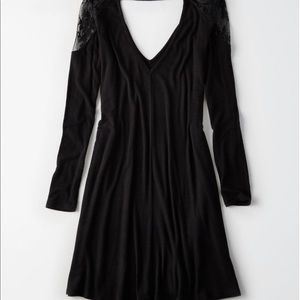 AEO ribbed dress with lace shoulder!